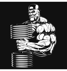 Bodybuilder with dumbbell vector
