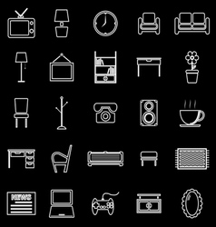 Living room line icons on black background vector