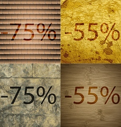 55 75 55 icon set of percent discount on abstract vector