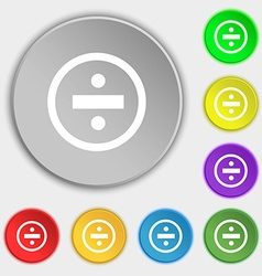 Dividing icon sign symbols on eight flat buttons vector