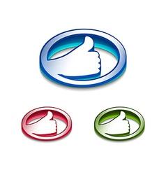 3d glossy likethumbs up symbol vector