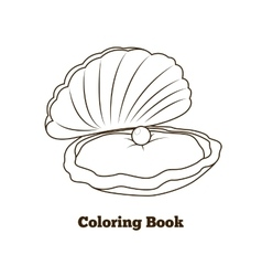 Coloring book oyster fish cartoon vector