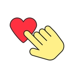 Yellow hand icon press heart vector