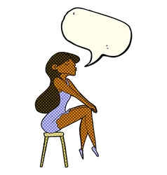 Cartoon woman sitting on stool with speech bubble vector