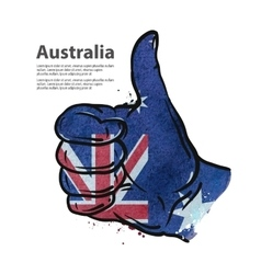 Hand gesture thumb up flag of australia vector