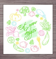Hand drawn poster with vegetables circle and label vector