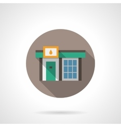 Gas station store round flat color icon vector