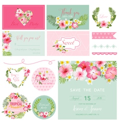 Scrapbook design elements - tropical flower theme vector