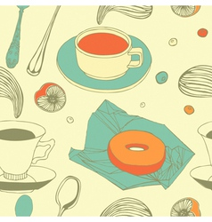 Vintage afternoon tea pattern vector