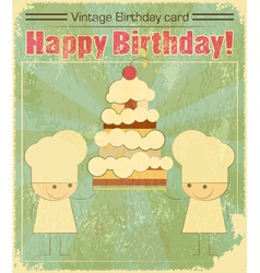 Vintage birthday card design with chefs vector