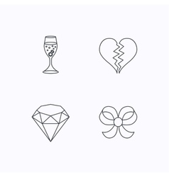 Broken heart brilliant and engagement ring icons vector