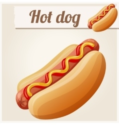 Hot dog detailed icon vector