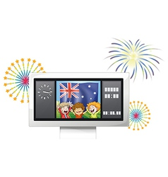 A board with the flag of Australia and three happy vector image
