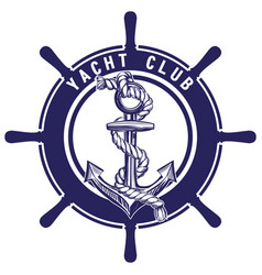 Anchor and wheel emblem sign symbol vector