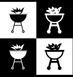 Barbecue with fire sign black and white vector