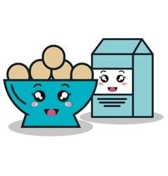 Bowl full eggs with box milk cartoon isolated icon vector