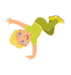 Boy in green dancing breakdance performing on vector