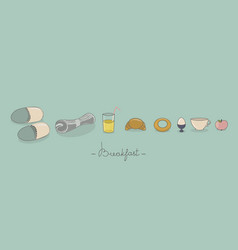 breakfast things greeting card and banner vector image vector image