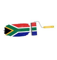 Brush stroke with south africa national flag vector