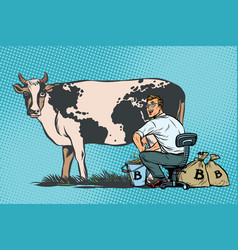 Businessman mines bitcoins milking a cow world vector