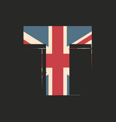 Capital 3d letter t with uk flag texture isolated vector