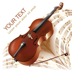 Classical cello on musical notes background vector