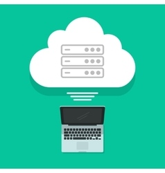 Cloud computing concept laptop connected vector image