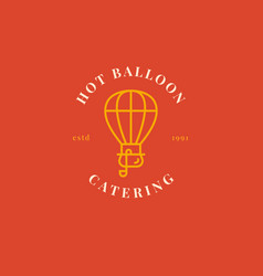 Creative air ballon logo with pot and soup ladle vector