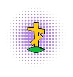 Cross tombstone icon comics style vector