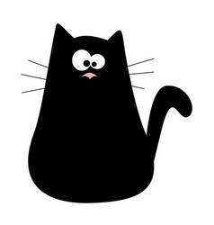 cute cartoon black cat logo kids vector image