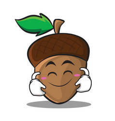 cute smile acorn cartoon character style vector image vector image