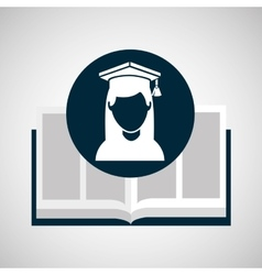 education opened book girl graduate vector image vector image