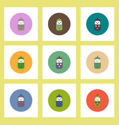 flat icons halloween set of pumpkin and ghost vector image vector image