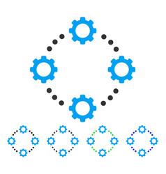 Gear virtual connection flat icon vector
