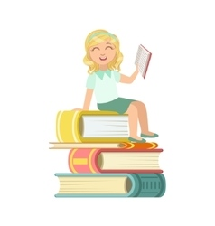 Girl In School Uniform Sitting On Pile Of Giant vector image vector image