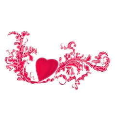 Heart and floral ornaments vintage vector