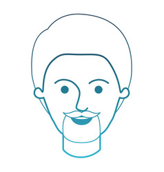 Male face with short hair and goatee beard in vector
