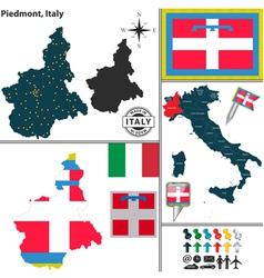 Map of Piedmont vector image vector image