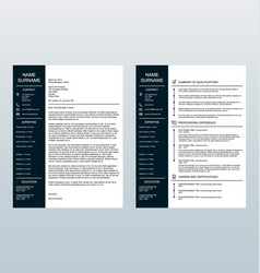 minimalist cover letter and resume template vector image