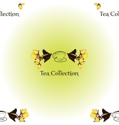 Seamless pattern with tea set logo vector image vector image