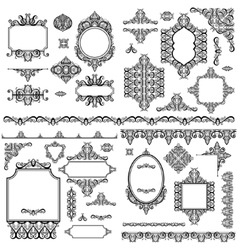 Set of black white design elements and page vector