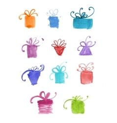 Set of hand drawn watercolor gifts vector