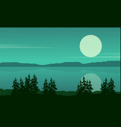 Silhouette of lake with spruce landscape vector