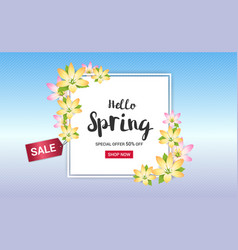 Spring sales banner background or poster vector