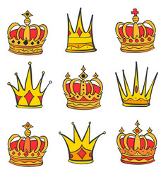 style red crown doodle set vector image vector image