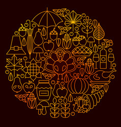thanksgiving day line icon circle concept vector image vector image