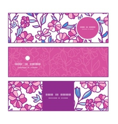 Vibrant field flowers horizontal banners set vector