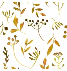 Watercolor seamless pattern with leaves and vector