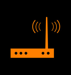 Wifi modem sign orange icon on black background vector