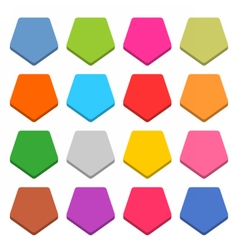 Flat blank web icon color pentagon button vector